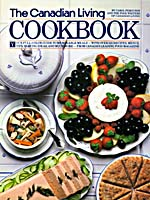 Cover of cookbook, THE CANADIAN LIVING COOKBOOK, with a photograph of plates of food