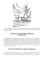 Page 12 of cookbook, FOODS OF THE SHUSWAP PEOPLE, featuring an illustration of a Shuswap man netting a fish, with an introductory text on Shuswap animal-based foods and the start of a text on hunting, trapping and snaring