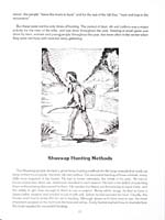 Page 13 of cookbook, FOODS OF THE SHUSWAP PEOPLE, featuring an illustration of a Shuswap hunter returning from hunting with his bow and arrow and a basket on his back filled with small game animals; and the continuation of a text on Shuswap hunting, trapping and snaring