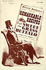 Page de titre du livre de cuisine REMARKABLE RECIPES FOR SWEET-GRASS illustrée d'un homme assis dans un fauteuil qui lit un journal dont la première page porte le titre du livre de cuisine écrit en gros
