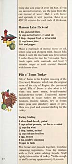 Page 17 of cookbook, CANADIAN CUISINE: NATIVE FOODS AND SOME MOUTH-WATERING WAYS TO PREPARE THEM, with two small illustrations and recipes for Hanson Lake Pickerel and Pile O'Bones Turkey