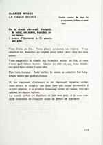 Page 133 du livre de cuisine RECETTES TYPIQUES DES INDIENS, où l'on explique comment faire sécher la viande (gaskide wiiass)