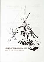 Page [131] of cookbook, RECETTES TYPIQUES DES INDIENS, featuring an illustration of the set-up for drying meat