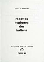 Page de titre du livre de cuisine RECETTES TYPIQUES DES INDIENS