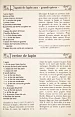 Page 115 of cookbook, LE GUIDE DE LA CUISINE TRADITIONNELLE QUÉBÉCOISE, with recipes for Ragoût de lapin aux grand-pères and Terrine de lapin