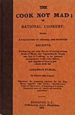 Cover of cookbook, THE COOK NOT MAD; OR RATIONAL COOKERY, orange in colour