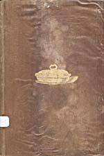 Cover of cookbook, COOKERY, in brown leather with embossing around the edges and a gold illustration of a covered serving dish