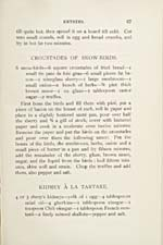 Page 67 of cookbook, COOKERY, with recipes for Croustades of Snow-Birds and Kidney à la Tartare