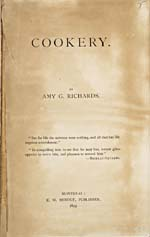 Title page of cookbook, COOKERY, with an epigraph by Brillat-Savarin