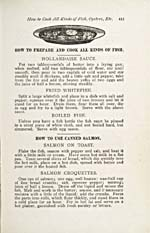 Page 415 of cookbook, THE HOUSEHOLD GUIDE: OR, DOMESTIC CYLOPEDIA…, with an illustration of a plate of fish, and instructions for preparing fish and for cooking with canned salmon