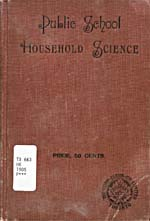 Cover of cookbook, PUBLIC SCHOOL HOUSEHOLD SCIENCE, brown in colour