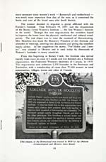 Page 13 of book, ADELAIDE HOODLESS: WOMAN WITH A VISION, with a photograph of an historical plaque on Adelaide Hoodless