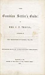 Title page of book, THE CANADIAN SETTLER'S GUIDE