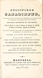 Title page of cookbook, LA CUISINIÈRE CANADIENNE