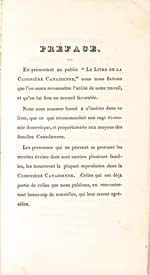 Preface of cookbook, LA CUISINIÈRE CANADIENNE…