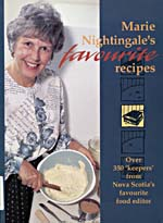 Cover of cookbook, MARIE NIGHTINGALE'S FAVOURITE RECIPES, with a photograph of Marie Nightingale mixing a cake