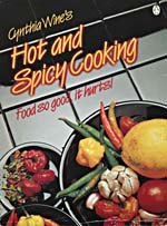 Cover of cookbook, CYNTHIA WINE'S HOT AND SPICY COOKING, with a photograph of plates of hot peppers and garlic