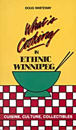 Cover of cookbook, WHAT'S COOKING IN ETHNIC WINNIPEG, with an illustration of a green bowl and chopsticks on a red and white checkered tablecloth