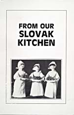 Cover of cookbook, FROM OUR SLOVAK KITCHEN, with a photograph of three corn-husk dolls carying trays of food