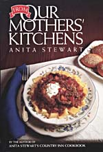 Cover of cookbook, FROM OUR MOTHERS' KITCHENS, with a photograph of a bowl of pasta and sauce and a plate of rolls