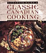 Cover of cookbook, CLASSIC CANADIAN COOKING: MENUS FOR THE SEASONS, with a photograph of a plate of sweet potatoes, roast pork with gravy and spinach salad