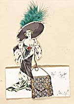 Handmade dinner card with an illustration of a woman in a long dress and fur-trimmed robe, wearing a wide feathered hat and carrying an oversized purse. The card is inscribed MR. SCOTT, JAN. 29TH