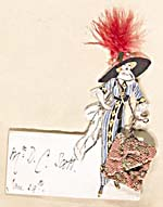 Handmade dinner card with an illustration of a woman wearing a long striped dress and a wide feathered hat and carrying an oversized purse. The card is inscribed MRS. D.C. SCOTT, JAN. 29TH