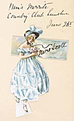 Handmade dinner card with an illustration of a young woman in a blue hooped dress, wearing a bonnet and carrying a bouquet of flowers. The card is inscribed MISS MERRIT'S COUNTRY CLUB LUNCHEON, JUNE 26TH, MRS. SCOTT