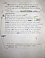 Manuscript page from _Ciel d'Afrique et pattes de gazelle_