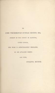 Dedication page of book, LIFE IN THE CLEARINGS VERSUS THE BUSH, by Susanna Moodie. First edition, London: R. Bentley, 1853