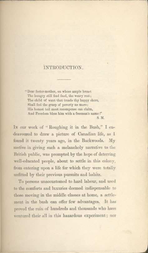 Page vii of introduction to book, LIFE IN THE CLEARINGS VERSUS THE BUSH, by Susanna Moodie. First edition, London: R. Bentley, 1853 (pages vii - xiv)