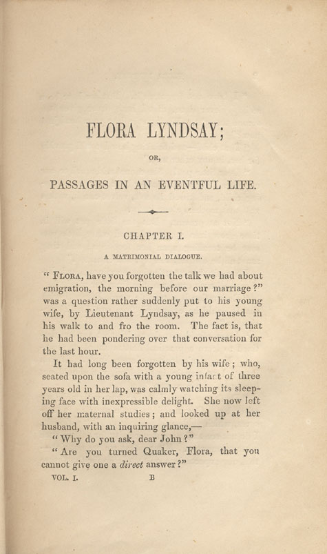Page 1 of chapter 1 from book, FLORA LYNDSAY, OR, PASSAGES IN AN EVENTFUL LIFE, by  Susanna Moodie. First edition (2 vol.), London: R. Bentley, 1853 (pages 1-9)