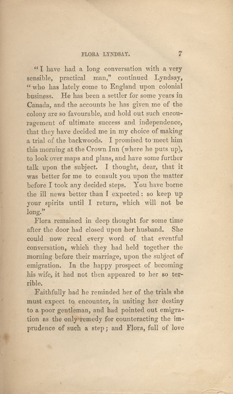 Page 7 of chapter 1 from book, FLORA LYNDSAY, OR, PASSAGES IN AN EVENTFUL LIFE, by  Susanna Moodie. First edition (2 vol.), London: R. Bentley, 1853 (pages 1-9)