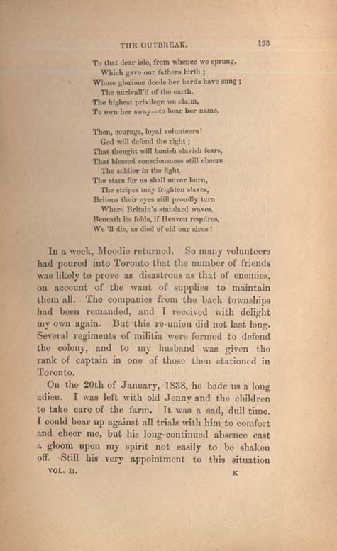 Page 193 of book, ROUGHING IT IN THE BUSH, by Susanna Moodie. First edition (2 vol.), London: R. Bentley, 1852 (pages 183-209)