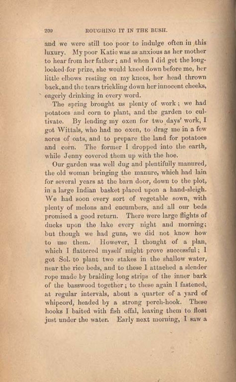 Page 200 of book, ROUGHING IT IN THE BUSH, by Susanna Moodie. First edition (2 vol.), London: R. Bentley, 1852 (pages 183-209)