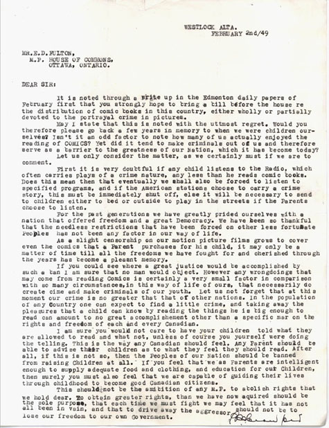 Letter from P.M. Crawford to E.D.Fulton, February 2, 1949; 1 page