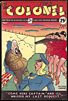 Cover of pulp magazine, THE COLONEL, with a cartoon-style illustration of the Colonel standing before a firing squad of women in red hotpants, while their female captain prepares to give the order to fire