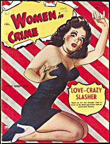 Cover of pulp magazine, WOMEN IN CRIME, with an illustration of a startled woman in a tight-fitting dress. The background is made to represent striped wrapping paper and looks torn to reveal the title of the magazine