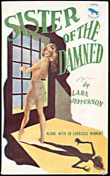 Cover of pulp magazine, SISTER OF THE DAMNED, with an illustration of a topless woman looking at her shadow while standing at a barred window