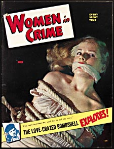 Cover of pulp magazine, WOMEN IN CRIME, with a posed photograph of a beautiful woman, bound and gagged