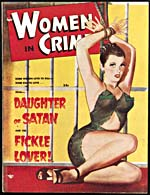 Cover of pulp magazine, WOMEN IN CRIME, with an illustration of a scantily clad woman bound at the wrists to a barred window