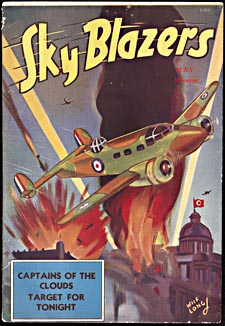 Cover of pulp magazine, SKY BLAZERS, with an illustration of Allied warplanes bombing Berlin