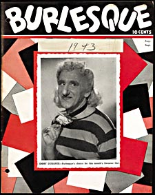 Cover of pulp magazine, BURLESQUE, with a photograph of Jimmy Durante dressed as a woman