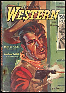 Cover of pulp magazine, DYNAMIC WESTERN, with an illustration of a cowboy firing a gun from behind a half-open door while his hat is being shot from his head