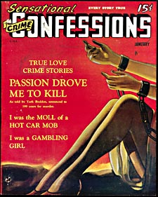 Cover of pulp magazine, SENSATIONAL CRIME CONFESSIONS, with an illustration of a woman's arms and legs bound in chains