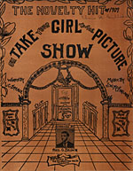 Illustrated cover of the sheet music for OH TAKE YOUR GIRL TO THE PICTURE SHOW, words by L.C. Spence and music by J.W. McFarlane