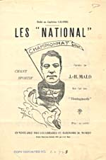 Illustrated cover of the sheet music for LES NATIONAL, words by J-H. Malo based on the music MONTAGNARDS