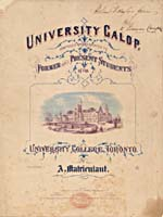 Illustrated cover of the sheet music for UNIVERSITY GALOP, by A. Matriculant