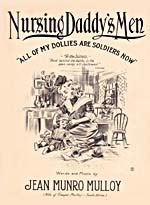 Illustrated cover of the sheet music for NURSING DADDY'S MEN, by Jean Munro Mulloy