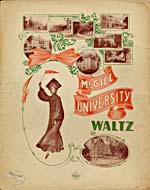 Illustrated cover of the sheet music for MCGILL UNIVERSITY WALTZ, by Frances C. Robinson
